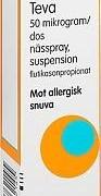 Flutikason Teva, nässpray, 50 mikrogram/dos, 60 doser